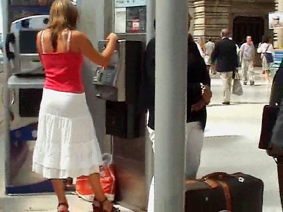 Long skirt upskirt