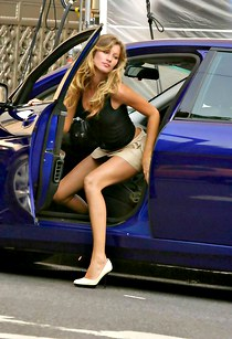 Gisele Bundchen in the car upskirt