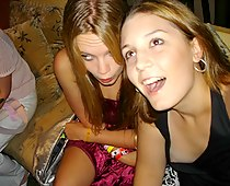 Naughty down blouse teens