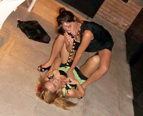 Hot catfight and panty upskirt