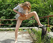 No panties street upskirt candid