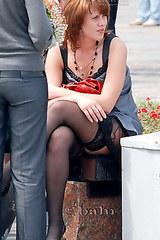 Upskirt black stockings