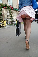 Windblown upskirt of real girl