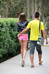 0107-pink-shorts-gal-strolls-in-park