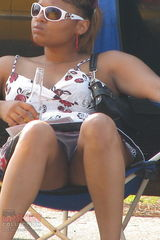 1408 Ebony hotties up skirts, while sitting