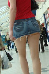 1826 Mini upskirts. Blonde has too tiny skirt. Hot!
