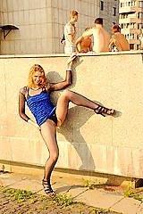 2149 Hot pantyhose up skirt of Elena