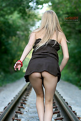 2154 Irina up skirt on the railroad