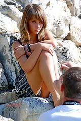 2217 Teen teasing up skirt view