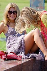 2336 Blondes tattoed leg upskirt