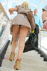 2405 Gal on the stairs panty upskirt